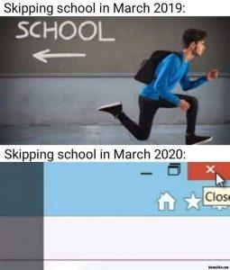 Obr. 7 Memes znázorňujúce prechod od offline k online vyučovaniu