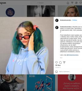Obr. 2 Slovenská youtuberka Janka Žampachová o svojom vyhorení pre podcast Forbes Nevyhorení. Zdroj: https://www.instagram.com/p/CSLtiZogY0W/
